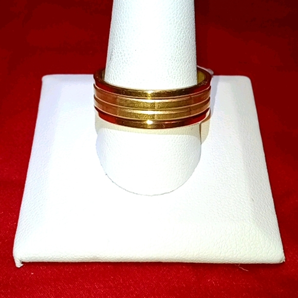 NWT Gold Banded Stainless Steel 10.5 Ring!